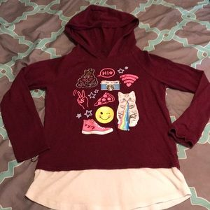 Justice T-shirt hoodie Maroon size 7